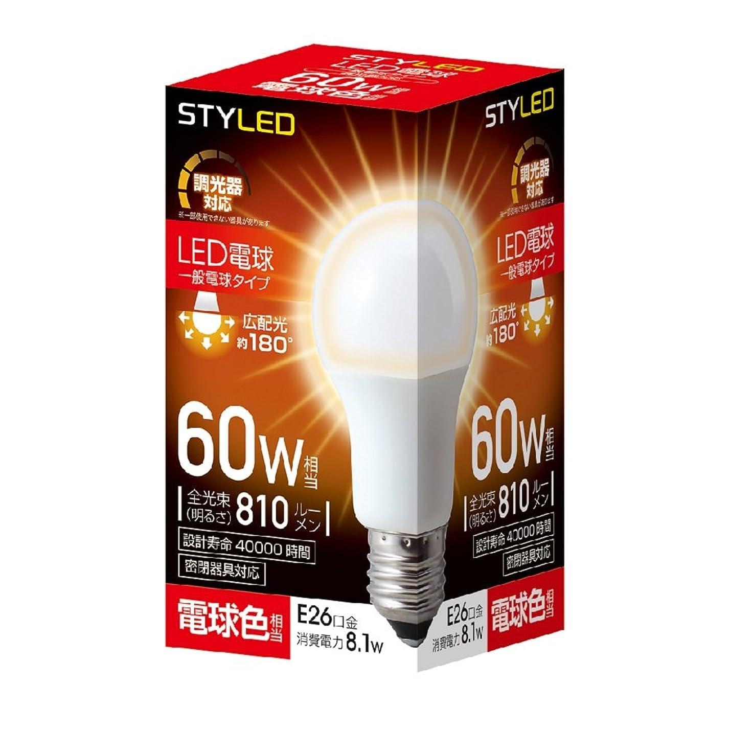 上がるもっと少なくデコレーションスタイルド LED電球 調光器対応 口金直径26mm 60W形相当 810ルーメン 電球色 広配光タイプ 密閉器具対応 RLA8D26L1