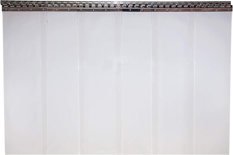 PVC Streifenvorhang komplett vormontiert als optimaler Wind und Wetterschutz H/öhe 2,75 m Lamellenvorhang 300x3mm 1,50 m breit transparent
