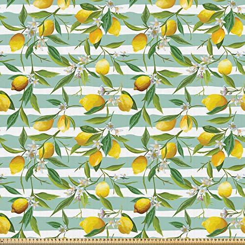 ABAKUHAUS Kunst Microfaser Stoff als Meterware, Blühender Zitronenbaum, Deko Basteln Polsterstoff Textilien, 2M (148x200cm), Farngrün Seafoam Gelb
