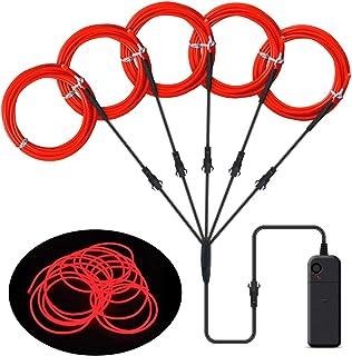 Songway EL Wire, luces de neón de cuerda, luz estroboscópica intermitente, cable de alambre electroluminiscente para la fiesta de Halloween Carnaval navideño Decoración del festival (Red)