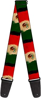 Buckle-Down 2 Inches Wide Guitar Strap - Mexico Flag Distressed Painting (GS-W33931)