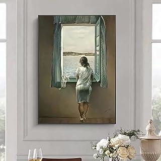 YYBFQZ Canvasmålning kvinnan vid fönstret canvasmålning affisch och tryck väggkonst bilder för vardagsrum väggdekoration b...