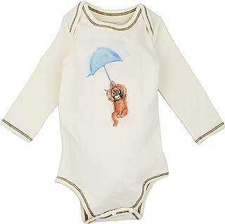 100% Organic Cotton Long Sleeve Unisex Baby Onesie w/Plant Dye Imprints