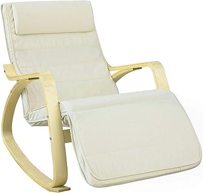 SoBuy ロッキングチェア 木製 リクライニング 5段階調整可能 リラックスチェア ゆりかご椅子 パーソナルチェア人間工学(FST16-W/ホワイト)