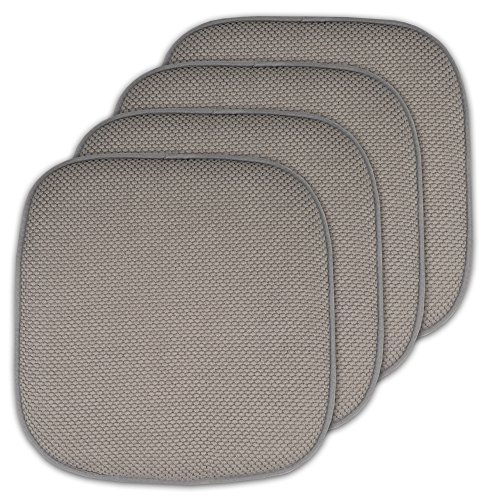 Sweet Home Collection Memory Foam Chair Cushion Honeycomb Pattern Solid Color Slip Non Skid Rubber Back Ultimate Comfort and Softness Rounded Square 16' x 16' Seat Cover, 4 Pack, Silver