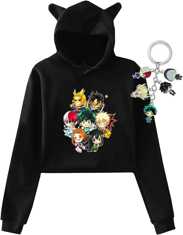 GBaoY Women's My Hero Academia Cat Ear Crop Top Hoodie With Keychain Set Keyring Sweatshirt