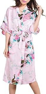 Ancia Women Kimono Long Robe Satin Printed Nightwear Bridesmaid Bathrobe Sleepwear