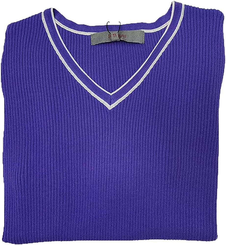 Women's Summer Sweater V-Neck Short Sleece Comfort Trendy Pullover Short Tops