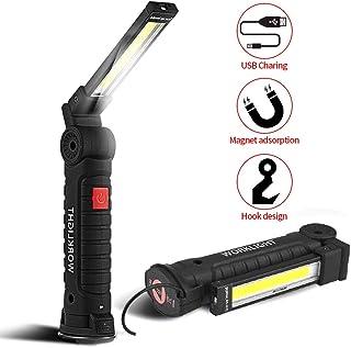 SunTop USB Recargable LED COB Lámpara de Trabajo Linterna de Mano - COB LED Linterna Luces de inspección Recargable portátil Colgando de Gancho, Soportes magnéticos