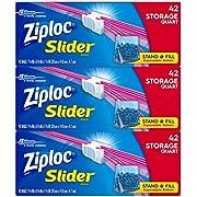 Ziploc Slider Storage Bags, Quart, 42 Count per pack, Pack of 3