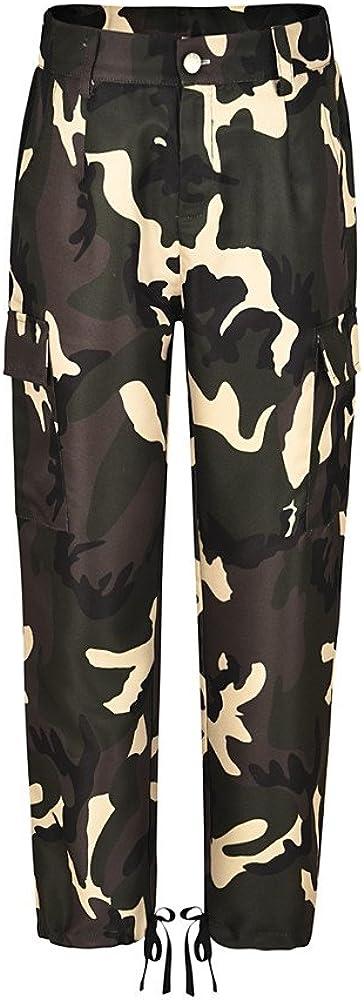 DEATU Camo Casual Work Pants Women Cotton Cargo Pants Sweatpants Hip Hop Camouflage Combat Sports Pants with Pockets