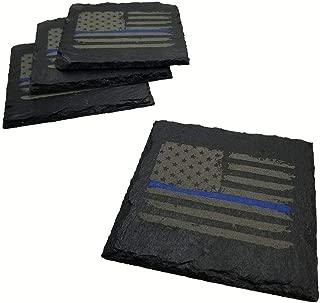 Police Thin Blue Line Distressed American Flag Slate Coaster Set