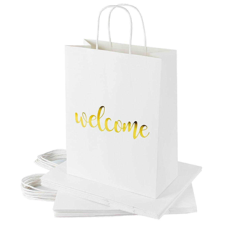 RUSPEPA Welcome Kraft Gift Bags -Gold Foil White Paper Gift Bag Set for Wedding,Birthday Present-24Pack -10