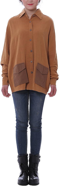 HUAN XUN Women's Linen Batwing Sleeve Pocket Blouse Shirt Sand Brown 22W, AOLO545
