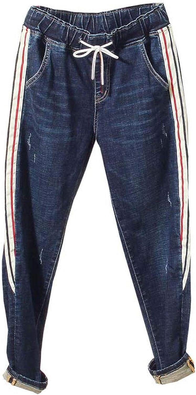 blueeshore Plus Size Women Long Pants Pockets Side Striped Drawstring Elastic Waist Female Jeans