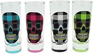 TMD Holdings Buffalo Plaid Candy Skull Tall Shooters Shot Glasses, Set of 4, 2 oz, Multicolored