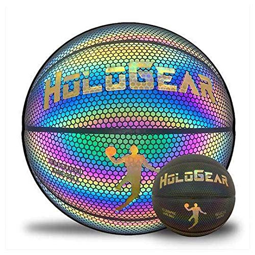 HoloGear Holographic Reflective Basketball - Flash Reflective Holographic Basketballs - Hoop Gifts Toys for Kids Boys and Girls- Perfect Toy (Multi-Color Glow, Men's)
