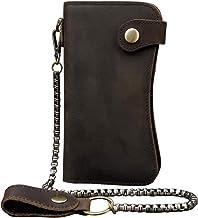 Echtes Leder Lange Brieftasche mit Reißverschluss Tasche Vintage Bifold Scheckheft Geldbörse(Chain Wallet)