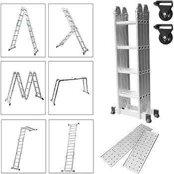 Froadp 470cm Escalera de Andamio en Aluminio Multifunción Plegable Escalera 6 en 1 Andamio con 2 Elevación Plataformas Cargable hasta 150KG(4x4 échelons): Amazon.es: Bricolaje y herramientas