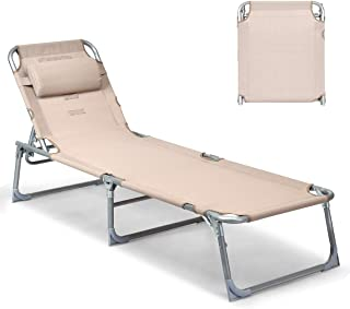 Goplus Adjustable Chaise Lounge Chair Recliner w/Sunbathing Tanning Face Down Hole for Beach Outdoor Pool Patio Deck (Apri...
