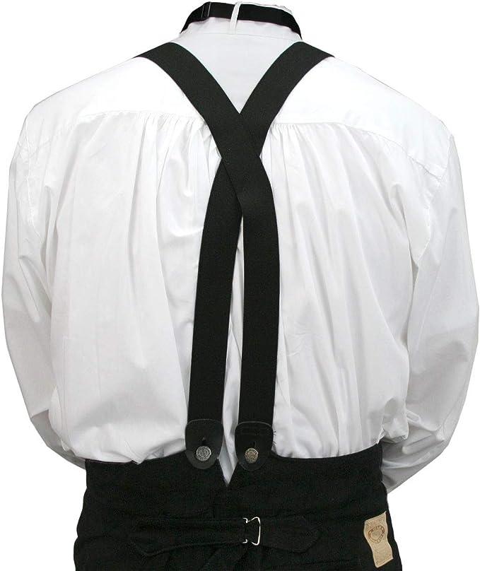 Men's Vintage Style Suspenders Braces Historical Emporium Mens Elastic X-Back Button End Suspenders  AT vintagedancer.com