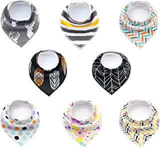 Queez Bandana Baby Bibs for Boys, Girls- Organic Cotton Super Absorbent Teething Bibs for Infant, Toddler