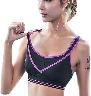 Professional Sports Bra-Shock-Gathered Yoga Running Training Fitness Underwear Adjustable Rear Buckle (Color : Purple, Siz...