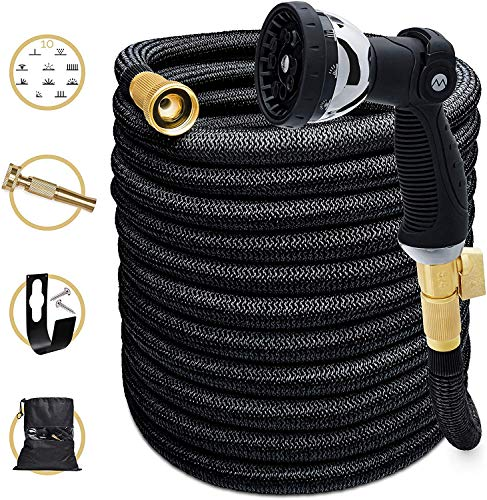 Morvat Improved for Summer 2020 Expandable Garden Hose 100 FT-Most Superior Strength 5500D & 3 Layer Latex Flexible Hose, Auto ON/Off Brass Connection, 10 Setting Spray Nozzle, Hose Holder &Carry Bag