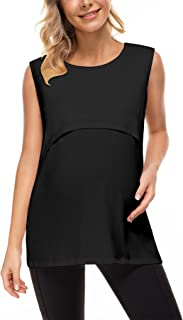 BRABIC Maternity Nursing Tank Tops for Women Breastfeeding Shirts Double Layer Sleeveless Camisole Pregnancy Clothes