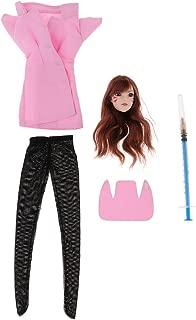 perfektchoice 1/6 Scale Dva Head Sculpt, Pink Nurse Uniform Set for 12 inch Action Figure Phicen, TBLeague