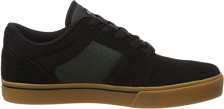 Etnies Boy's Barge LS Skate Shoe, Black/Green/Gum, 1.5c Medium US Big Kid