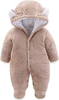 JiAmy Bebé Traje de Nieve Ropa de Invierno Mameluco con Capucha Fleece Pelele Manga Larga Marrón 9-12 Meses