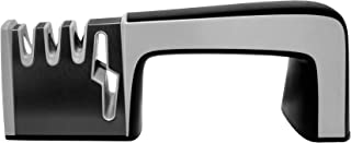 DelPro Knife and Scissor Sharpener, 4 in 1 Sharpener for Knives of Any Size, Ergonomically designed, Non-Slip Grip, Professional Grade, Left/Right Hand Use, Easy To Use Manual Knife Sharpener