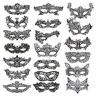 VANVENE 20 Pieces Lace Mask Masquerade Venetian Eyemask Halloween Sexy Woman Lace Mask for Halloween Masquerade Carnival Party Costume Ball, Black
