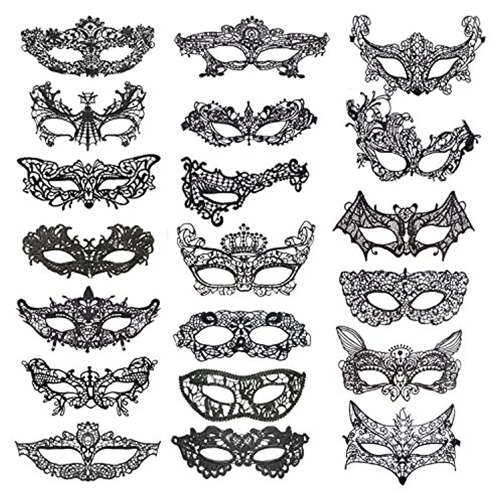 Jtshy 20 Pieces Lace Mask Masquerade Venetian Eyemask Halloween Sexy Woman Lace Mask for Halloween Masquerade Carnival Party Costume Ball, Black