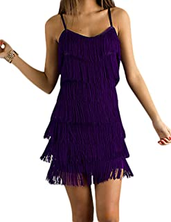 Women's Short All-Over Fringe Flapper Sleeveless Comfortable Day/Night Mini Dress with Adjustable Bra Straps