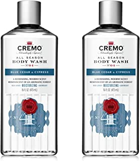 Cremo Rich-Lathering Blue Cedar & Cypress Body Wash, A Woodsy Scent with Notes of Lemon Peel, Cypress and Cedar, 16 Oz (2-...