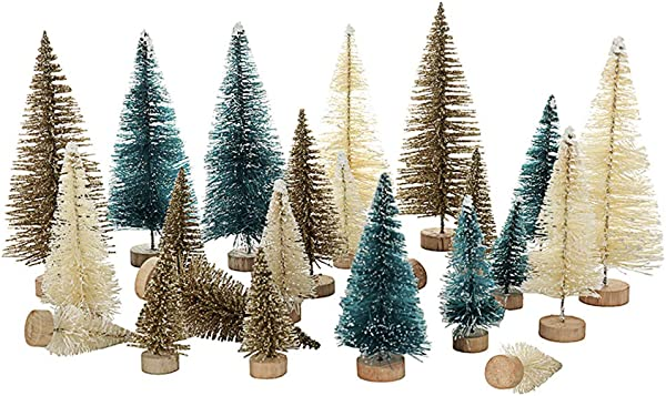 24Pcs Mini Chrismas Tree With Stand Base Sisal Snow Frost Trees Bottle Brush Trees Plastic Winter Snow Ornaments Tabletop Trees For DIY Room Decor Home Table Top Decoration Diorama Models Gift