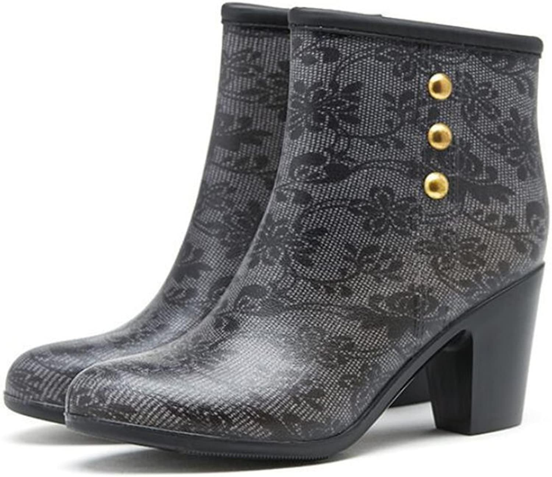 ed074aa85ad Women's Rain Boots Ladies Non-Slip Water shoes Zipper Water Block ...