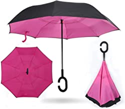 umbrella Reverse Double Windproof fashion Layer Rain Umbrella Inverted Auto Inside Out Rain Protection C-Hook with Hands new,17