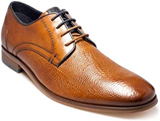 Paul O Donnell Mens Premium Embossed Leather Cognac Lace Up Shoes (Chicago)