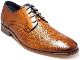 Paul o Donnell Hombre Premium Relieve Cuero Coñac Zapatos con Cordones (Chicago)