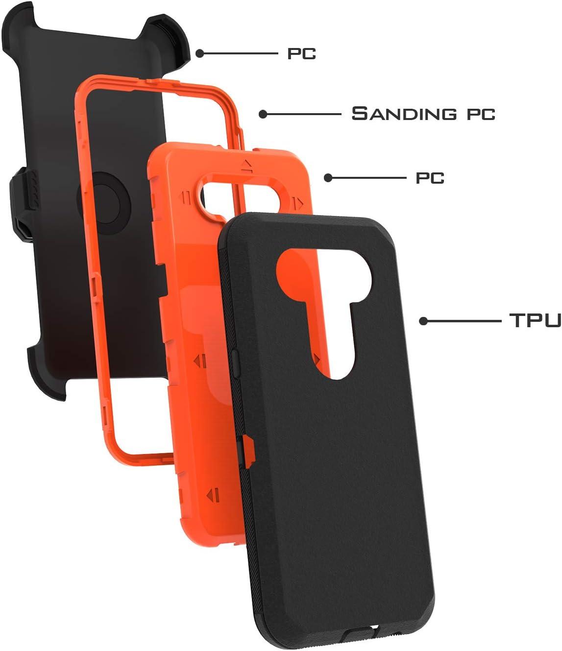 UNC Pro 3 in 1 Belt Clip Holster Cell Phone Case for LG K51/LG Q51/LG Reflect, Heavy Duty Hybrid Shockproof Bumper Case with Kickstand, Black/Orange