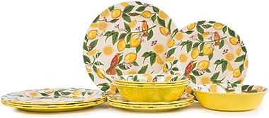 12 Piece Melamine Dinnerware Set-Dishes Set for Everyday Use, Dishwasher safe, Service for 4, Lemon Pattern