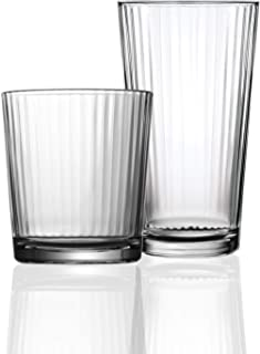 Circleware Hill Street Huge 12-Piece Glassware Set of Highball Tumbler Drinking Glasses and Whiskey Cups for Water, Beer, ...