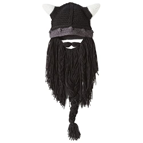 a03a5af0474495 Xinqiao Men's Original Barbarian Viking Bearded Hat Beanie Funny Party Knit  Caps