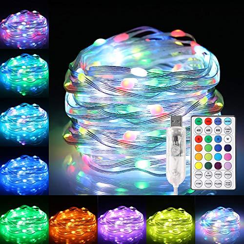 Lichterkette RGB B-right 10m 100 Leds Lichterkette mit Fernbedienung, 16 Farben 12 Modi USB Lichterkette für Innen- und Außen, Wasserdicht Lichterkette für Zimmer Weihnachten Hochzeit Weihnachtsbaum