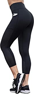 High Waist Workout Capri Leggings with Side Pockets/Full Length Yoga Pants with Hidden Pockets-Non See Through