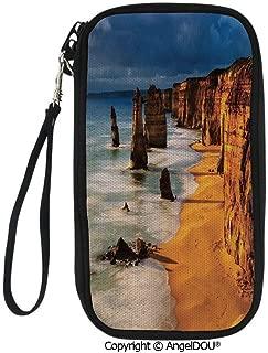 PUTIEN Zip Around Travel Card Holder Purse Twelve Apostles Australia Sunset Great Ocean Road Coast Cliff Washed by Sea Surf Picture for Women Girls Ladies.