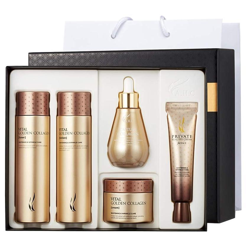 人形タール爆風A.H.C Vital Golden Collagen Special Skin Care Set +Shopping Bag バイタルゴールデンコラーゲンフェイスケアセット トナー/ローション/クリーム/アイクリーム/アンプル [並行輸入品]